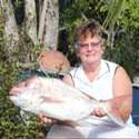 Janice with her 6.5kg snapper. Biggish, but not big enough to be in the prize money.