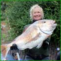 Shirley Ryder brought home this lovely 10kg snapper off Bluey.