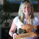 Yvette Martin with the new Junior snapper trophy she won with her 6.5kg snapper off Bluey.